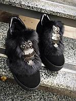 Женские модные замшевые слипоны ботинки черные Сова