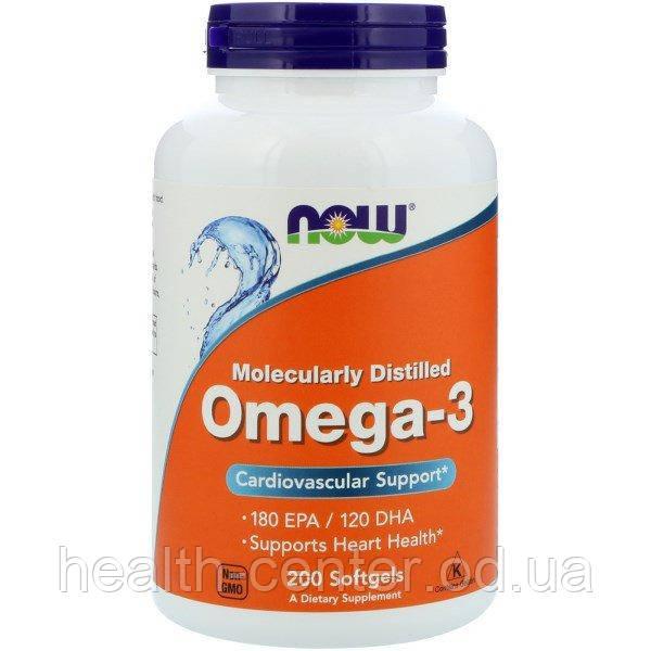 Омега-3 (рыбий жир) 200 капс 1000 мг для сердца сосудов, зрения, памяти Now Foods USA