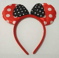 """Ободок для волос с ушками и бантиком """"Минни Маус"""" (""""Микки Маус"""")  в горошек. Красный"""