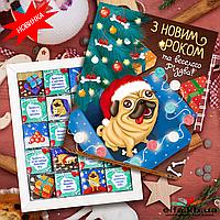 "Шоколадный набор ""Новорічний Мопс"" (20 шоколадок)"