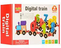 Деревянная игрушка Паровозик 10 вагонов с цифрами MD1045