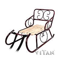 Санки Смерека. Детские. Металл. Деревянное сиденье. Бордовый