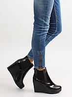12-05 Черные лаковые женские ботинки на танкетке 1765-21 40,38,37,36