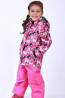Зимний раздельный термокомбинезон 2018RD4 на девочку 2-6 лет (куртка, полукомб., р.86-116) ТМ Be easy Ягодный с принтом