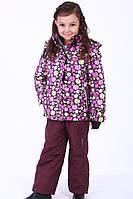 Раздельный зимний термокомбинезон 2018RD4 на девочку 2-6 лет (куртка, полукомб., р.86-116) ТМ Be easy Сливовый с принтом