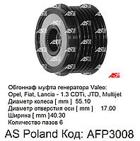 Шкив обгонная муфта генератора Opel Agila 1.3 CDTi (Опель Агила) не реверсивный, иннерционный шкив