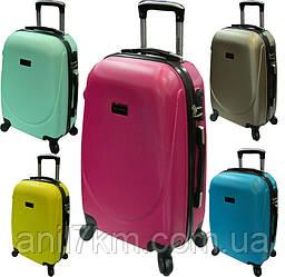 Большой Легкий ударопрочный  пластиковый чемодан на четырёх колёсах