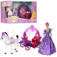 Карета 234A 30 см, открываются двери, свет, звук, лошадь 29 см ходит, кукла 28 см, на батарейке