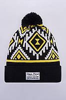 Шапка зимняя двойная Urban Planet C15 NATIVE BLK (теплая шапка, шапка мужская, шапка женская, шапка с бубоном)