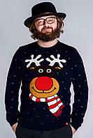 """Рождественский мужской вязаный свитер """"Смешной олень"""""""
