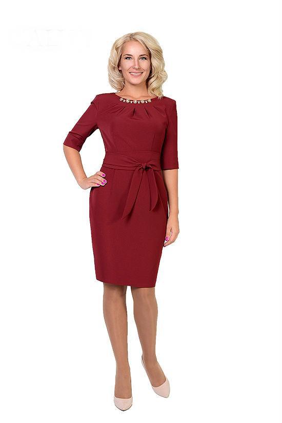 Стильное платье с широким поясом