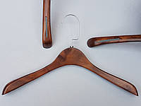 Плечики вешалки  деревянные широкие с антискользящими резинками, коричневые, 38,5 см