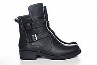 Зимние кожаные ботинки женские, чёрные, из натуральной кожи, натуральная кожа
