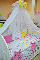 Детский постельный комплект Asik с разноцветными бантиками и малиновыми звёздами (8 эл-в) №230