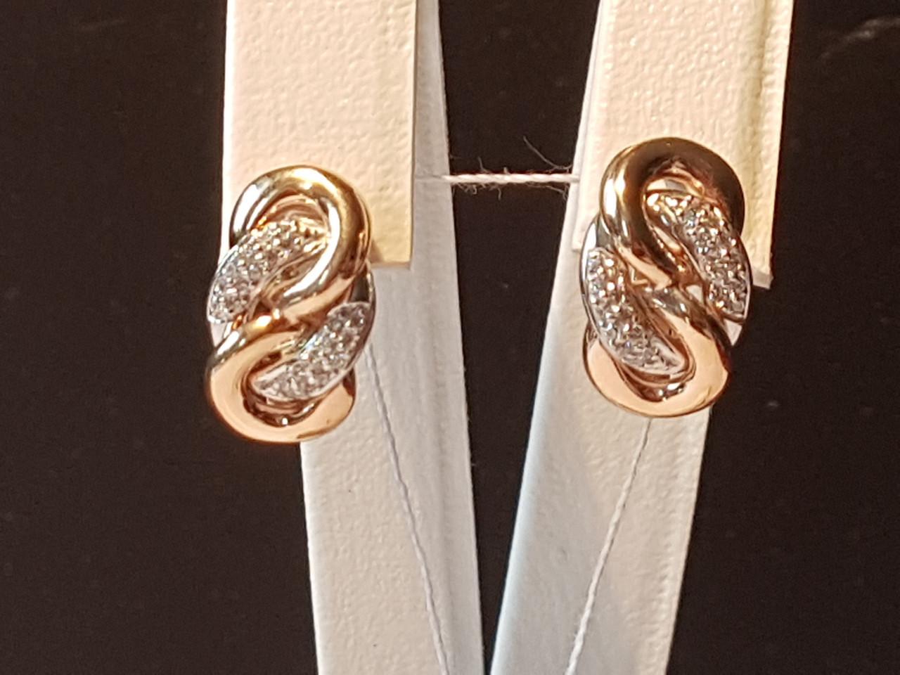 Золотые серьги с фианитами. Артикул 6458
