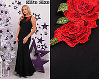 Шикарне батальне плаття в пол з трояндами.Р-ри 46-56