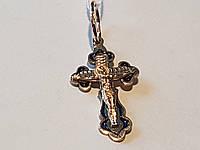 Золотой крестик Распятие Христа с эмалью. Артикул 134