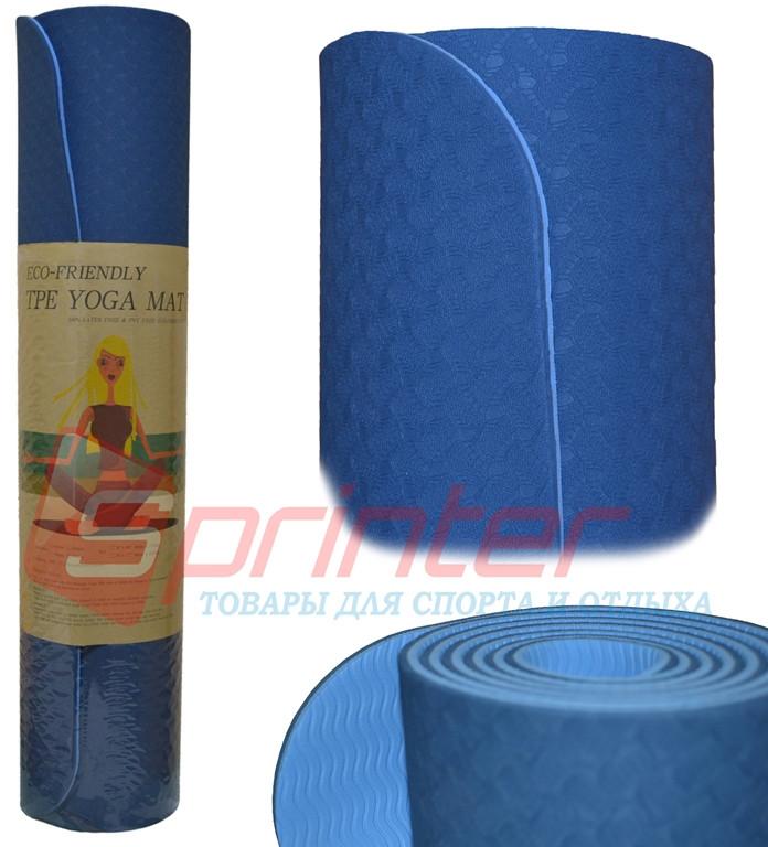 Коврик для фитнеса и йоги с рисунком.TPE-6S
