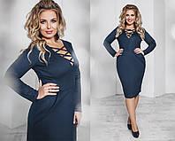 Замшевое платье с глубоким декольте 4 цвета тк1091