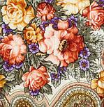 Любви желанная пора 1537-1, павлопосадский платок шерстяной (с просновками) с шелковой бахромой, фото 2