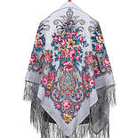 Рококо 1316-1, павлопосадский платок шерстяной с шелковой бахромой, фото 2
