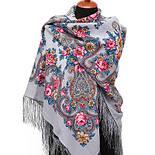 Рококо 1316-1, павлопосадский платок шерстяной с шелковой бахромой, фото 3