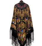 Радоница 920-18, павлопосадский платок (шаль) из уплотненной шерсти с шелковой вязанной бахромой, фото 5