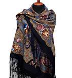 Радоница 920-14, павлопосадский платок (шаль) из уплотненной шерсти с шелковой вязанной бахромой, фото 2