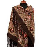 Миндаль 1369-27, павлопосадский платок (шаль) из уплотненной шерсти с шелковой вязанной бахромой, фото 2