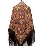Миндаль 1369-27, павлопосадский платок (шаль) из уплотненной шерсти с шелковой вязанной бахромой, фото 10