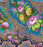 Миндаль 1369-14, павлопосадский платок (шаль) из уплотненной шерсти с шелковой вязанной бахромой, фото 6