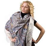 Фея сирени 406-3, павлопосадский платок шерстяной  с шелковой бахромой, фото 2