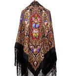 Миндаль 1369-20, павлопосадский платок (шаль) из уплотненной шерсти с шелковой вязанной бахромой, фото 4