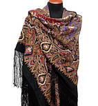 Миндаль 1369-20, павлопосадский платок (шаль) из уплотненной шерсти с шелковой вязанной бахромой, фото 2