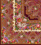 Остановись, мгновенье... 1401-7, павлопосадсая шаль из уплотненной шерсти с шелковой вязаной бахромой, фото 3