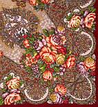 Старый замок 947-6, павлопосадский платок (шаль) из уплотненной шерсти с шелковой вязанной бахромой, фото 2