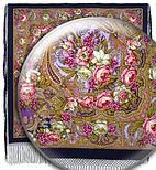 Счастливица 1122-14, павлопосадский платок (шаль) из уплотненной шерсти с шелковой вязанной бахромой, фото 2