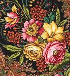 Счастливица 1122-18, павлопосадский платок (шаль) из уплотненной шерсти с шелковой вязанной бахромой, фото 2