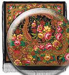 Счастливица 1122-18, павлопосадский платок (шаль) из уплотненной шерсти с шелковой вязанной бахромой, фото 3