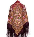 Юлия 1230-7, павлопосадский платок (шаль) из уплотненной шерсти с шелковой вязанной бахромой, фото 3