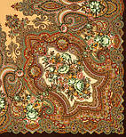 Юлия 1230-17, павлопосадский платок (шаль) из уплотненной шерсти с шелковой вязанной бахромой, фото 2