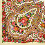 Любава 1289-1, павлопосадский платок шерстяной  с шерстяной бахромой, фото 4