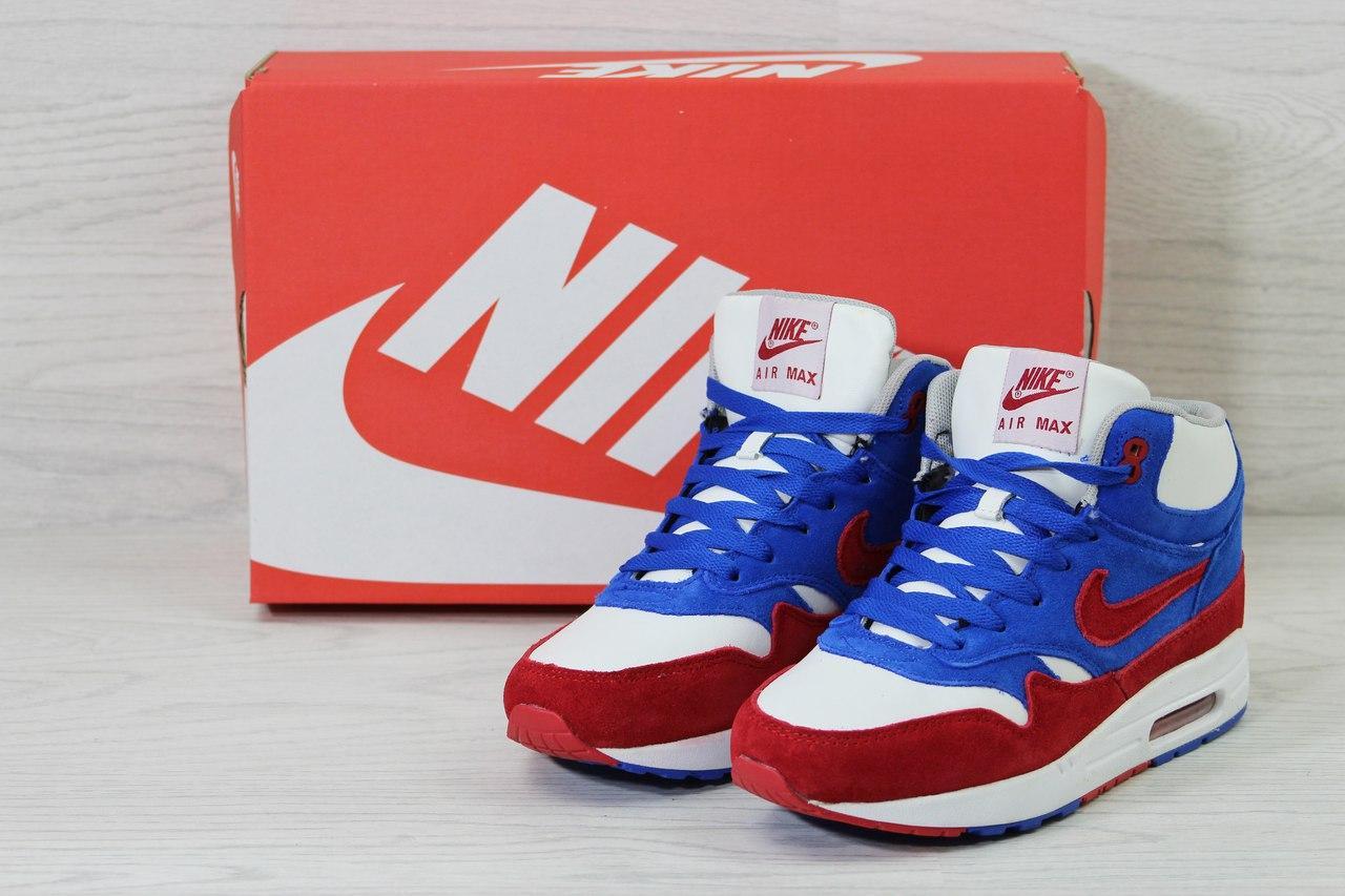Высокие зимние кроссовки Nike Air Max 87,замшевые,на меху.