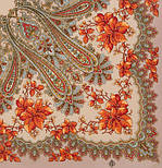 Багрянец осени 1545-1, павлопосадский платок шерстяной с шерстяной бахромой, фото 2