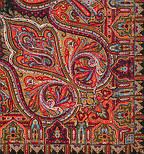 Шафран 1155-18, павлопосадский платок шерстяной  с шелковой бахромой, фото 4
