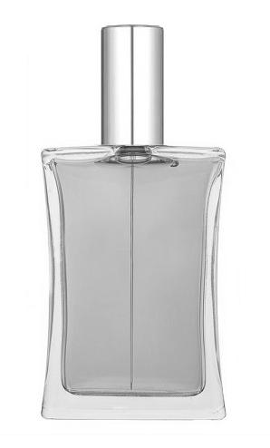 ПРОЗРАЧНЫЙ Флакон для парфюмерии ИМИДЖ 50 мл. с металлическим спреем СЕРЕБРО