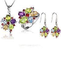 Серебряный набор Волшебные цветы с натуральными камнями