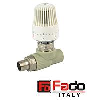 Кран вентильный PPR 20х1/2 радиаторный с термоголовкой полипропиленовый FADO Италия прямой