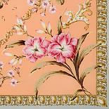 Пармские фиалки 1382-1, павлопосадский платок (крепдешин) шелковый с подрубкой, фото 2