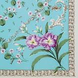 Пармские фиалки 1382-2, павлопосадский платок (крепдешин) шелковый с подрубкой, фото 2
